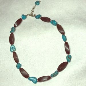 Jewelry - BOHO Wood and Turquoise necklace